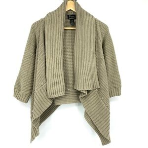 Pure Handknit Olive Open Cardigan Chunky Rivets